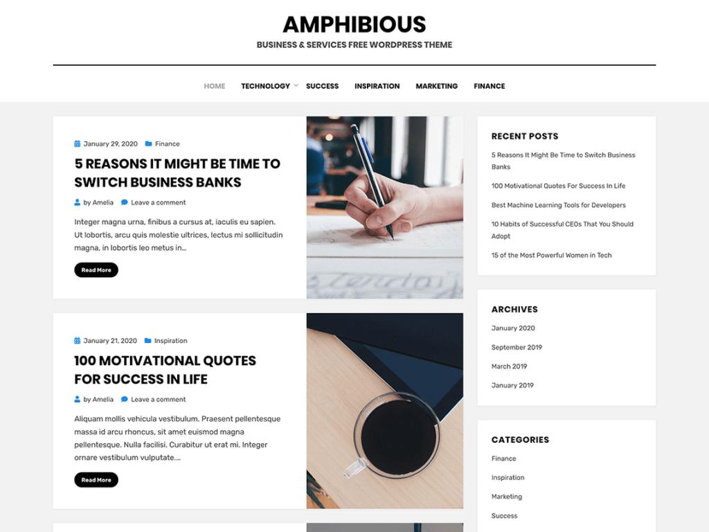 amphibious wordpress theme 2020