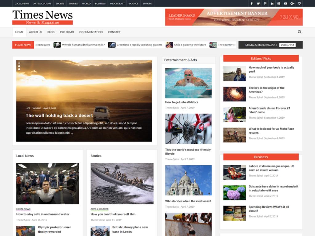 timesnews wordpress theme 2020