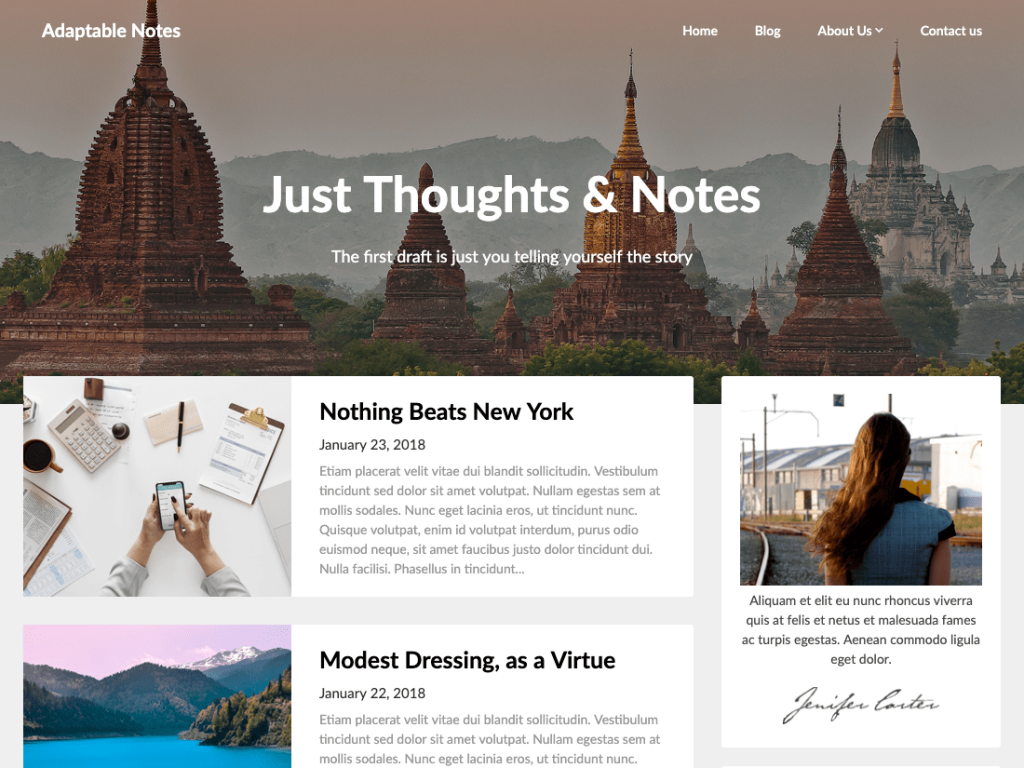 adaptable notes wordpress theme 2020