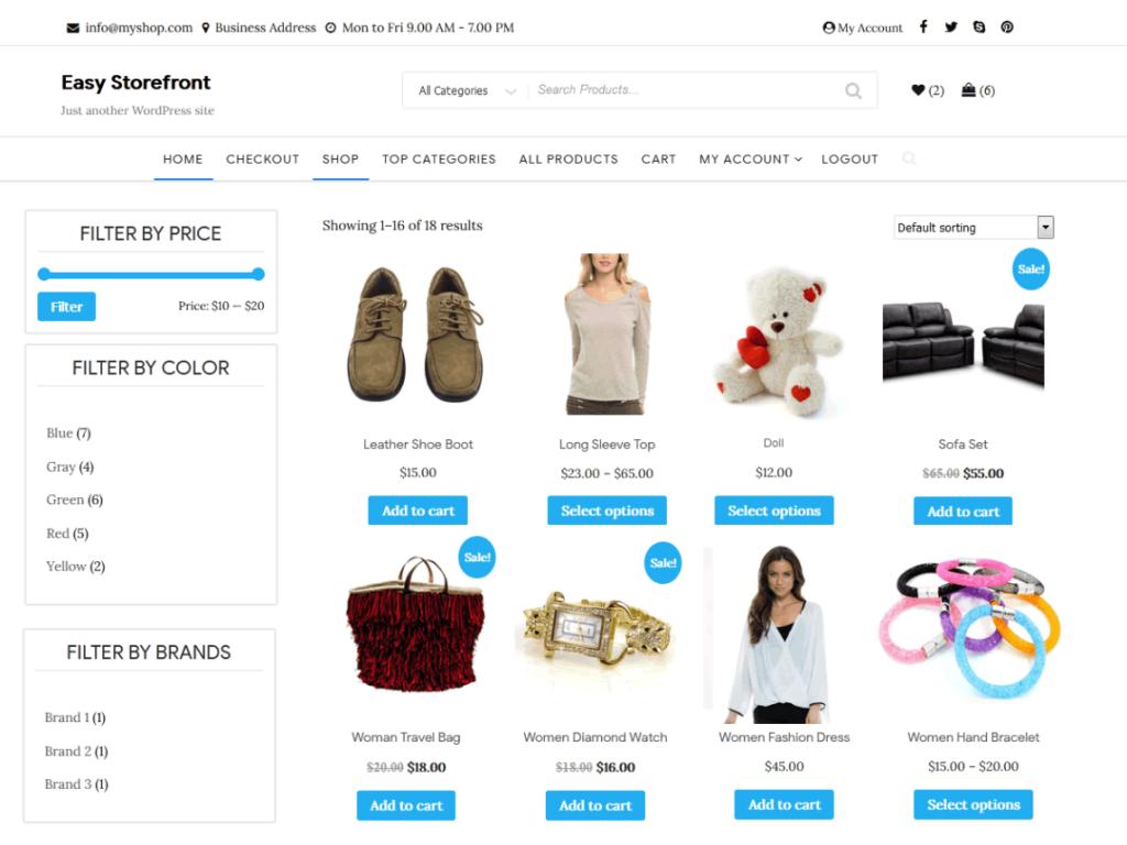 easy storefront wordpress theme 2020