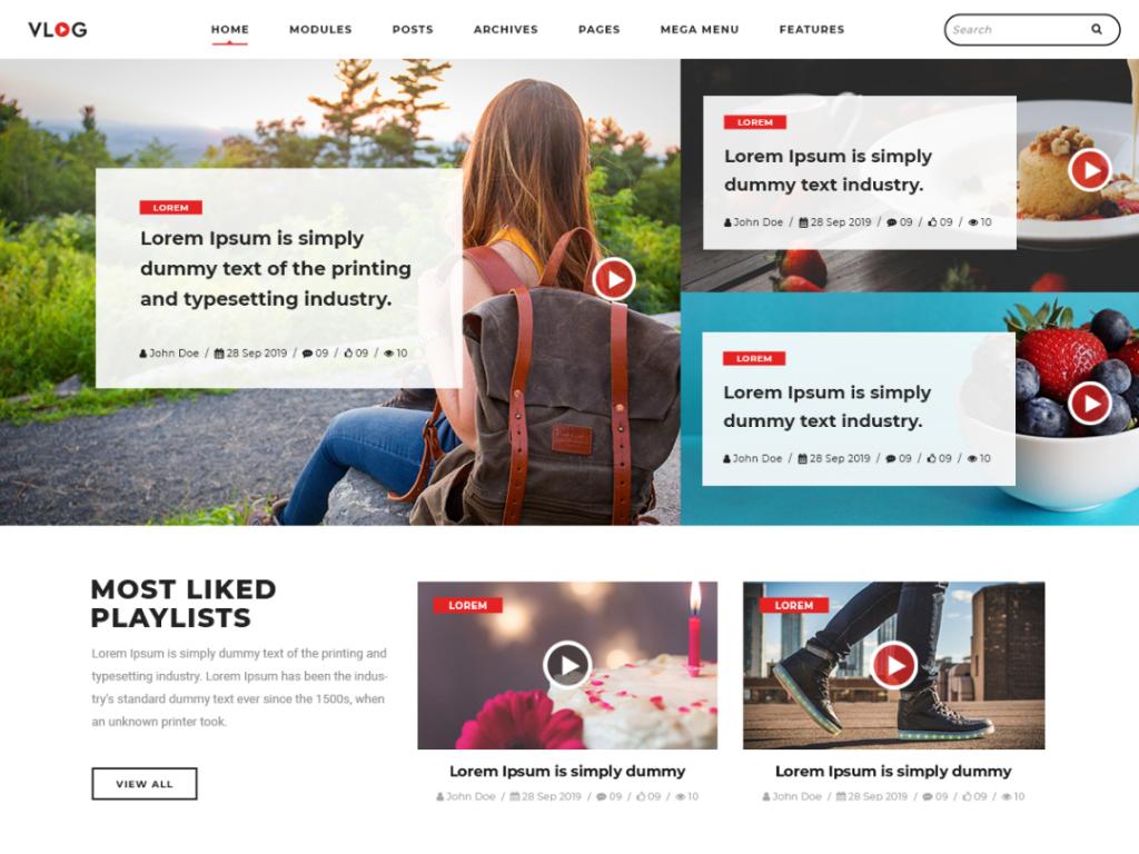 vlogger video blog wordpress theme 2020