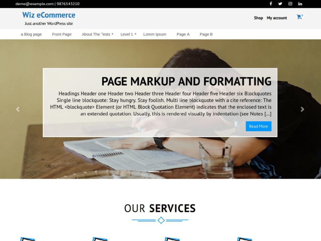 wiz ecommerce wordpress theme 2020